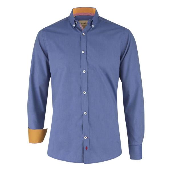 Dunkelblaues Männer Hemd mit Kontrasten in orange